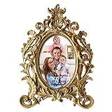 Giftgarden barocker Bilderrahmen im Format 10x15cm goldener ovaler Fotorahmen