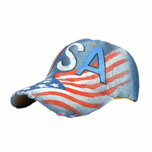 Unisex Classic Vintage USA American Flag Printing Washed Denim Baseball Cap Adjustable Low Profile Dad Hat