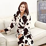 LKKLILY-Couple Nightgown flannel robe for men and women fall and winter long padded pajamas, sleepwear and loungewear,Dairy cows,L