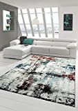 Designer Teppich Moderner Teppich Wohnzimmer Teppich Kurzflor Teppich Meliert Splash Design Türkis Creme Braun Multi Größe 160x230 cm