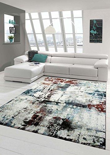 Designer Teppich Moderner Teppich Wohnzimmer Teppich Kurzflor Teppich Meliert Splash Design Türkis Creme Braun Multi Größe 160x230 cm - Designer Wohnzimmer