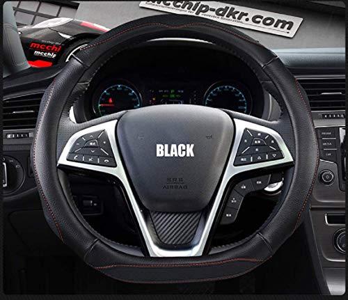 Wygm PU Sport Copertura Corsa Anello Ruota Auto in Microfibra e Gomma Auto, Formato Universale per 37-39cm, Il Nero, 38Cmd,Nero, 38cm
