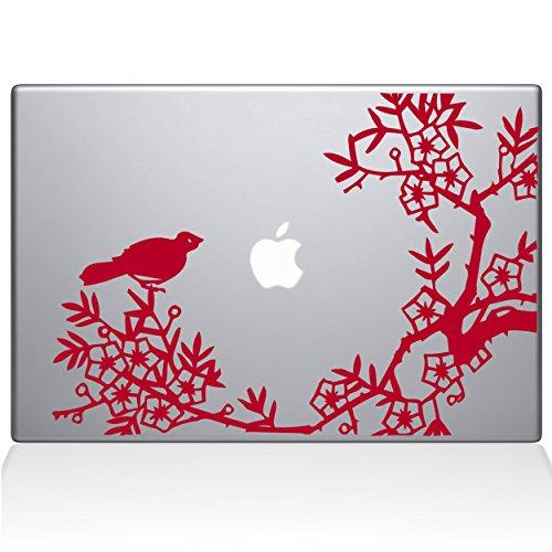 The Decal Guru 0164-MAC-15X-DR Asian Blooms and Woodland Motifs, Vinyl-Aufkleber, 38,1 cm (15 Zoll) MacBook Pro (2016 und Neuer), Rot