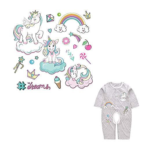 Pegatina transfer parche termoadhesivo unicornio dreams para bodys, camisetas, chandal, sudaderas, babys, pijamitas, albornoces, canastillas, mochilas 20 x 20 cm de CHIPYHOME