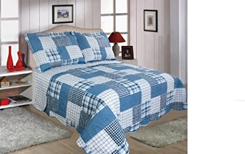 Quilted Patchwork Design Bedspread - Check - Blue (PAIR OF PILLOW SHAMS 50CM X 75CM + 5CM)