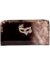 Envie Black And Beige Coloured Party Clutch For Women
