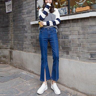 PU&PU Zeichen e Frühling Modelle war dünne Stretch-Jeans weiblichen Retro-Knochen Linie Split Horn Strumpfhose, Blue, m -