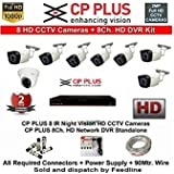 CP PLUS 8-CHANNEL DVR KIT WITH 2-TB HARD DISK , 1-PC 2.4MP DOME CAMERA , 7-PC 2.4MP BULLET CAMERA, 8-CH POWER SUPPLY ,WITH BNC/DC CONNECTORS & WIRE ROLL COMBO PACK. 2 YEARS WARRANTY