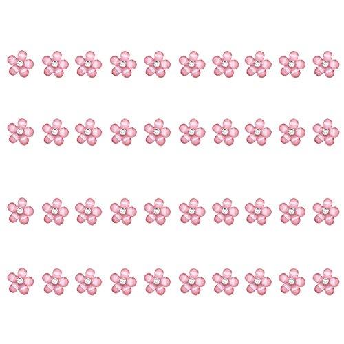 CAOLATOR 40 Pieces Nail Art Nail Accessories Tiny Mini Strass Micro Rivets Slivoïde Des ongles Paillettes Fond plat Diamants Flocon de neige Cadeau de Noël Rose 1*1cm