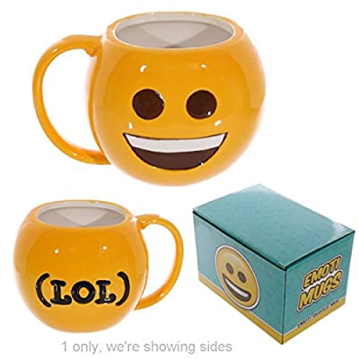 Fun Collectable Ceramic Big Smile Face Emotive Mug Shaped And Novelty Mugs, They Are Fun