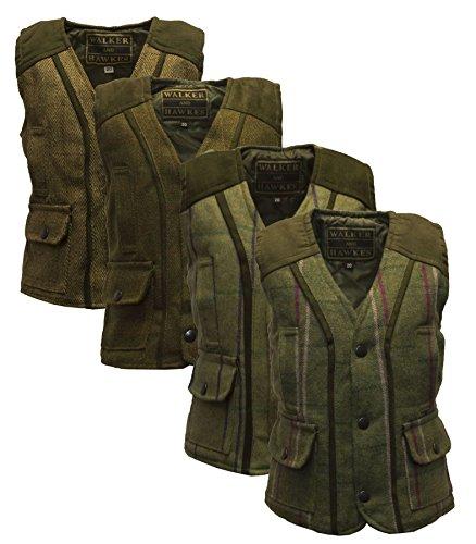 Walker and Hawkes Kinder Weste - Tweed aus Wollmischung - tailliert - Dunkles Salbeigrün - UK-Größe 22 (2 bis 3 Jahre) - Tweed Duffle