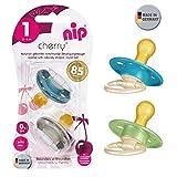 NIP Cherry Rundsauger Schnuller 4 Stück Uni Set ab Geburt // Gr.1 // 0-6 Monate // neutral Mix