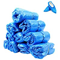 kuou 100 Pack Blue Disposable Shoe Covers, Premium Overshoes, Floor, Carpet, Shoe Protectors.