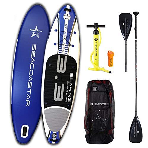 Double-Layer SEAKING Carbon-Set (325x80x15) SUP Board Paddelboard Standup Paddleboard blau (Board,Bag,Pumpe,Carbon SUP-/Kayak Paddle)