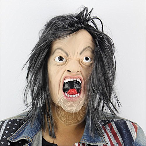 SQCOOL Thriller Maske Lustiges Scharlachrotes Langes Halloween Halloween Parade Latex Material (Lustige Halloween Kostüme Für Männer Diy)