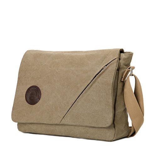 Eshow Herren Canvas Freizeit Täglich Umhängetasche Schultertasche Taschen Retro Messenger Bag 14 Zoll Laptop Geeign, (Blau 3) Khaki 1
