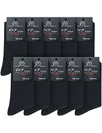10 Paar E&F Damen- und Herren-Socken in Schwarz - aus hochwertiger Baumwolle - ohne Gummibund - für Business und Freizeit - Größe 39-42 | 43-46