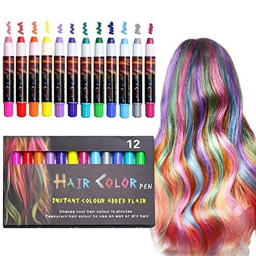 Ximu colori per capelli, 12 gessetti per capelli,colore dei capelli sicuro e innocuo, adatto per bambini da 3 anni, festival, giochi di ruolo, feste a tema, volti di pittura, performance sul palco
