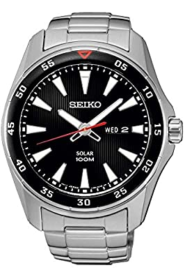 Seiko SNE393P1 - Reloj con correa de acero para hombre, color negro / gris