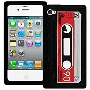 Black Retro Xylo-Tape Cassette Silicone Cover / Skin / Case for the Apple iPhone 4 4G 4S.