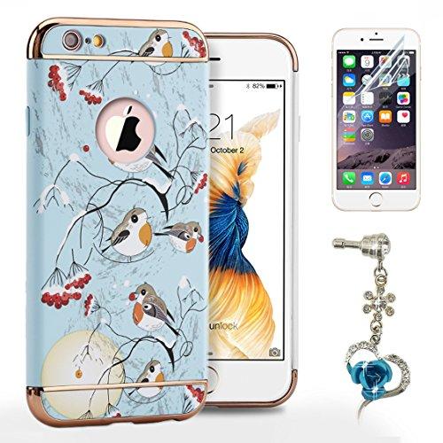 Sunroyal® Cover iPhone 6, iPhone 6S Custodia [Shock-Absorption] 3 in 1 Armatura telaio in metallo Dura PC Fiori Texture in Rilievo Protettiva Custodia Case per Apple iPhone 6 6S 4.7 Bumper Back custo Modello 13