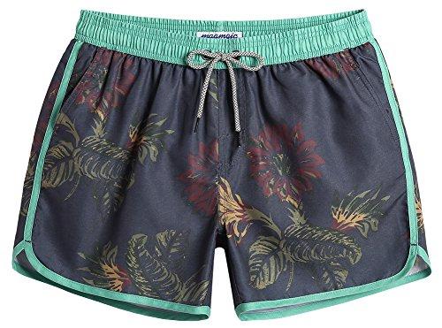 MaaMgic Short de Bains Homme Vintage 80S 90S Style Maillot de Bain Garcon Femme, Gris&vert, Small(tour de taille:68-71cm)