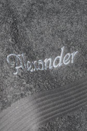 Duschtuch mit Namen oder Wunschbegriff bestickt, 70x140cm, Anthrazit, Stickfarbe Hellgrau