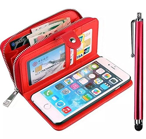 Vandot 3 in1 Reißverschluss Viele Karte Card Slot PU Handtasche für iPhone 6 4.7 Zoll Leder Wallet Magnet Case Hülle Brieftasche Luxus Flip Business Zipper Tasche Holster Loch Shell Schutz Bag Etui +  Zipper Rot