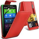 (Red) Nokia X Custom Designed Stilvolle Accessoires zur Auswahl Schutzmaßnahmen Kunst Credit / Debit-Karten-Leder Flip Case Hülle, Retractable Touch Screen Stylus Pen & LCD-Display Schutzfolie von Hülle Spyrox