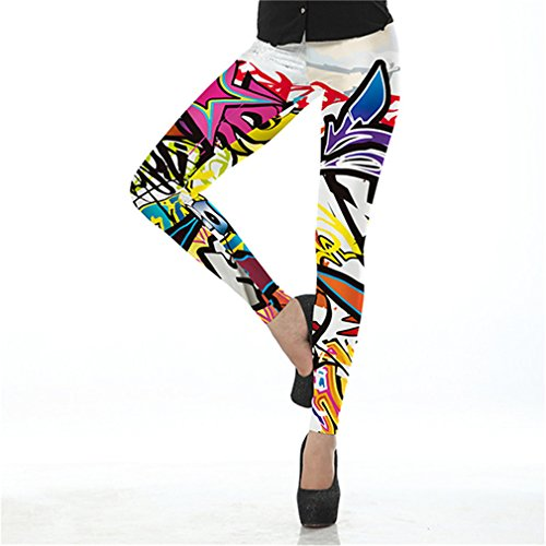 AKSLIY Mode Frauen Hohe Elastische Graffiti Spray Digital Gedruckte Fitness Leggings