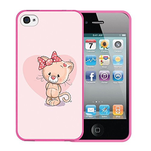 iPhone 4 iPhone 4S Hülle, WoowCase Handyhülle Silikon für [ iPhone 4 iPhone 4S ] Herzen aus Federn Handytasche Handy Cover Case Schutzhülle Flexible TPU - Transparent Housse Gel iPhone 4 iPhone 4S Rosa D0329
