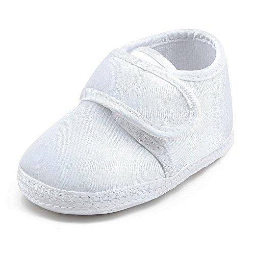 Delebao Babyschuhe Weiß Taufschuhe Baby Jungen Mädchen Weiche Sohle Hausschuhe Lauflernschuhe 6-9 Monate
