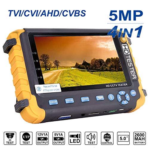 4 in 1 CCTV-Tester, 5MP AHD/TVI/CVI/CVBS-HD-Videomonitortester, analoger Video-/UTP-Kabeltest/PTZ-Controller, VGA/HDMI-Eingang, DC12V-Ausgangskamera-CCTV-Tester -