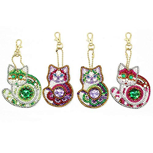 Key Chain DIY Full Drill Diamond Painting Kits Bag Accessories Pendant Charm Multiple Shapes of Diamonds Cute Cat 4 Pack By Heatop
