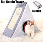 Cat Condo,Cat Tower with a Cat Scratch Pad and Bell-Ball,Scratcher with Catnip,Scratching Posts, Easy to Fold and Store Grea