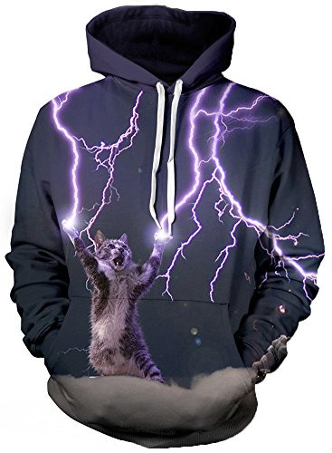 Hoodie Animal Damen (Bettydom Damen Fashion Sternhimmel 3D Printed Sport Pullover Unisex Animal Cartoon PrintTops (S/M,6)