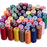 WHITE POPCORN SPEED 30 Assorted Colour Polyester Sewing Thread Spools 250 Yards Each with Needles and Soft Measuring…