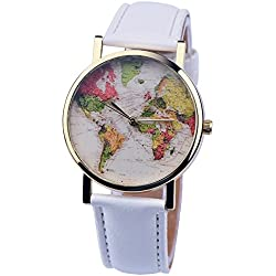 PSFY 2016 new styles leather watches with White world map watch Unisex watches wristwatch