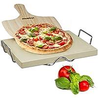 Relaxdays Pizzastein Set 3 cm Stärke mit Metallhalter und Pizzaschieber aus Holz HBT: 7 x 43 x 31,5 cm rechteckiger Brotbackstein für Pizza und Flammkuchen mit Pizzaschaufel für Pizzaofen, natur