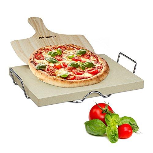 Relaxdays Pizzastein Set 3 cm Stärke mit Metallhalter und Pizzaschieber aus Holz HBT: 7 x 43 x 31,5 cm rechteckiger Brotbackstein für Pizza und Flammkuchen mit Pizzaschaufel für Pizzaofen, - Holz Brot Halter