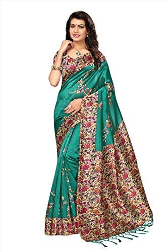 Applecreation women\'s art silk saree with blouse piece (SRJM027_Green_Free Size)
