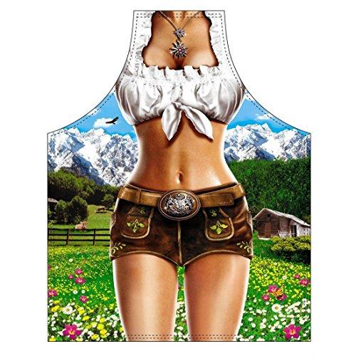 Lustige Schürze - Lustige Dirndl - Schurz für Karneval oder Fasching als Kostüm oder Geschenk - im Set mit Urkunde (Schürze Natürliche Baumwolle)