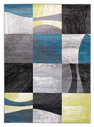 Alfombra De Salón Moderna – Color Antracite Gris Blanco Azul De Diseño Geométrico Cuadrado – Suave – Fácil De Limpiar – Mejor Calidad – Diferentes Dimensiones S-XXXL 160 x 220 cm