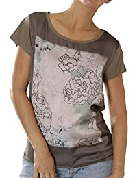 6b3c7bd20f1cda Catwalk Junkie Damen T-Shirts Ts Lined Flower - Oil Green USP 1702020290-368
