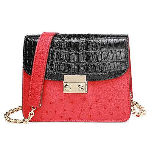 Bag Frauen-Stil, Straußenleder Handtasche, Kontrastfarbe Kette Tasche, kleine quadratische Tasche, Lederhandtasche, Damen Umhängetasche,-red - Straußenleder Handtasche