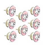 #9: JP Hardware pack of 8 Ceramic Pink Knobs for Cabinets & Cupboards| Drawer Pulls