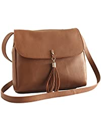 GrippDC Leather Sling Bag Large. Rustic Crossbody - Brown. Genuine Leather Big Bag.