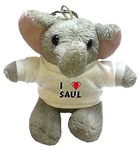Elefante de peluche (llavero) con Amo Saul en la camiseta (nombre de pila/apellido/apodo) de SHOPZEUS