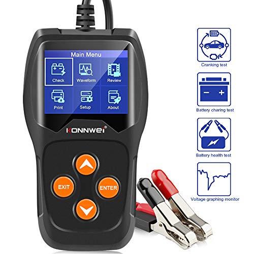 KONNWEI KW600 12 V Professional 100-2000 CCA 220 AH Autobatterie-Lastanalysator und Lichtmaschinen-Tester für Auto, Boot, Motorrad