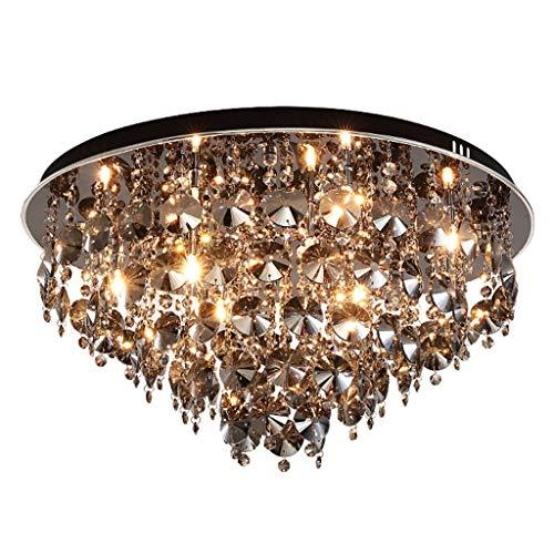 Kronleuchter Rudergerät Kristall Schlafzimmer-Studie Runde Lampe Restaurant warme Deckenleuchte (Color : Black, Size : 40 * 40 * 68cm)